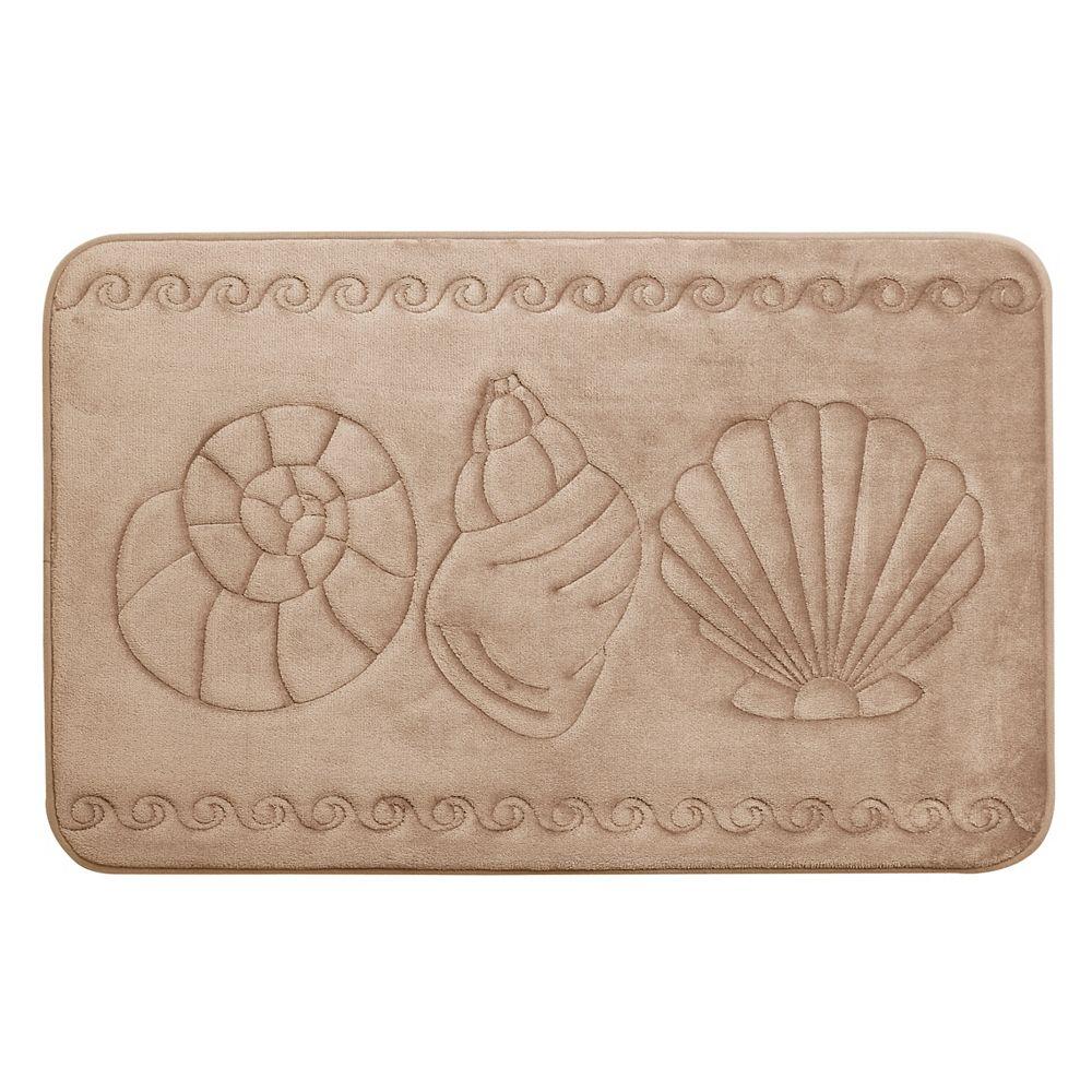 CHC Sea Shell - Memory Foam Bath Mat TAUPE 17X24