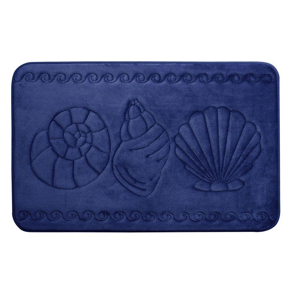 CHC Sea Shell - Memory Foam Bath Mat NAVY 20X32