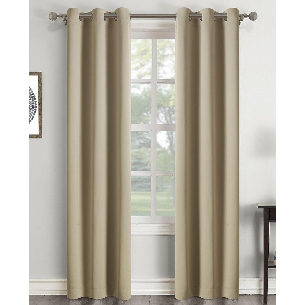 CHC Room Darkening Solid Grommet Window Panel STONE 40X63