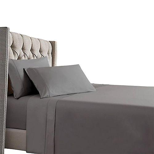 Home Depot Ensemble de draps en satin de coton 100% coton à fibres longues, Cool & Comfy, 400 fils