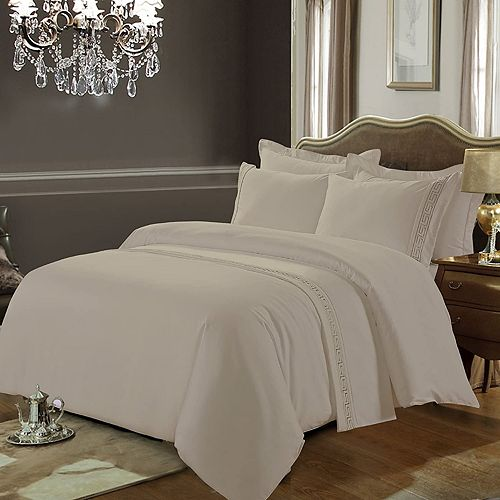 Greeky Collection 600 Thread Count 100% Cotton 3-Pieces Duvet Cover Set Queen