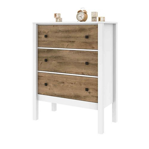 Bestar Capella Dresser - White & Rustic Brown
