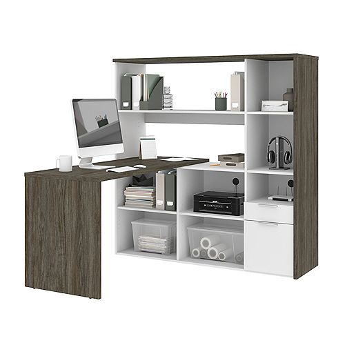 Gemma L-Shaped Desk - Walnut Grey & White