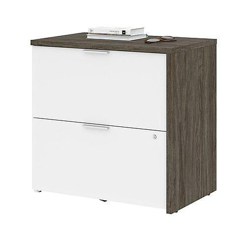 Bestar Gemma Filing Cabinet - Walnut Grey & White