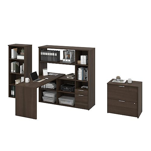 Gemma 3-Piece L-Shaped Desk, Bookcase and Filing Cabinet - Antigua