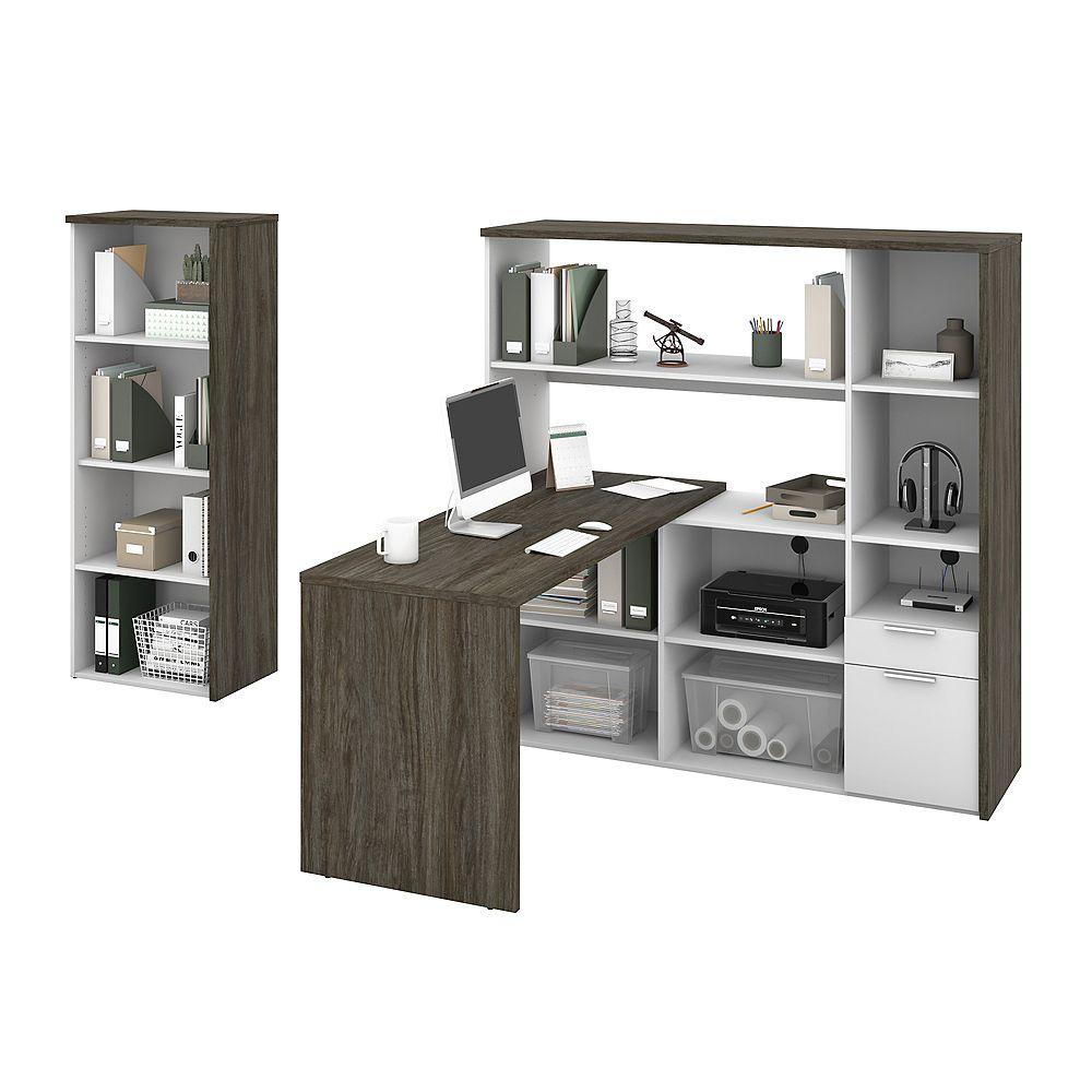 Bestar Gemma Ensemble de 2 meubles incluant 1 bureau en L avec huche et 1 bibliothèque - Gris boisé & blanc