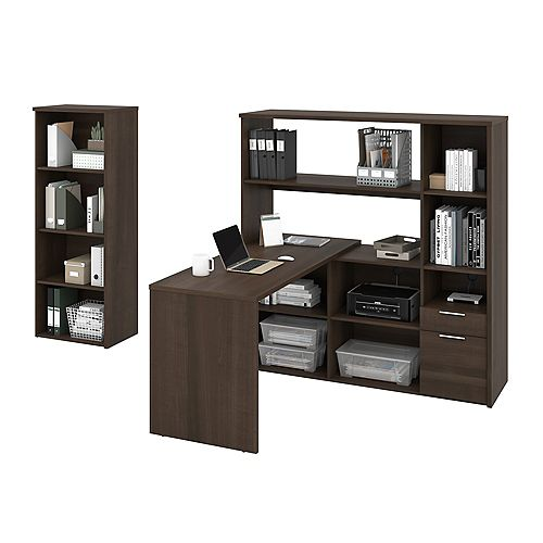 Gemma 2-Piece L-Shaped Desk and Bookcase - Antigua