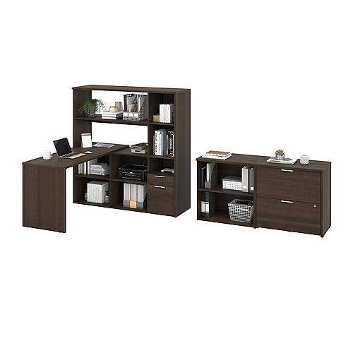Gemma 3-Piece L-Shaped Desk, Storage Unit and Filing Cabinet - Antigua