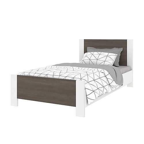 Bestar Sirah Twin Platform Bed - Bark Gray & White