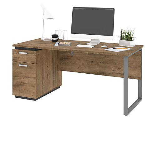 Aquarius Computer Desk - Rustic Brown & Graphite