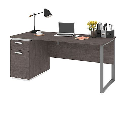 Bestar Aquarius Computer Desk - Bark Gray & White