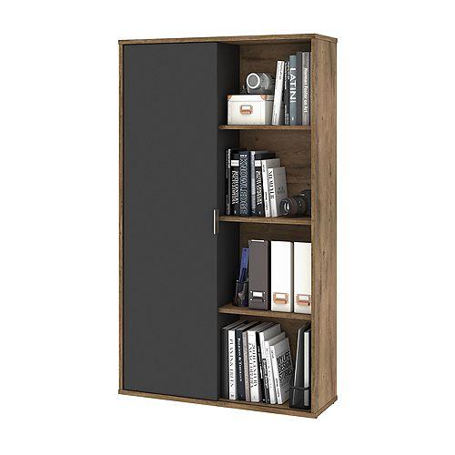 Bestar Aquarius Bookcase with Sliding Door - Rustic Brown & Graphite