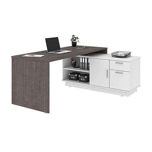 Equinox L-Shaped Desk - Bark Gray & White