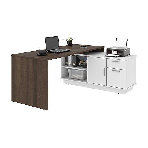 Equinox L-Shaped Desk - Antigua & White