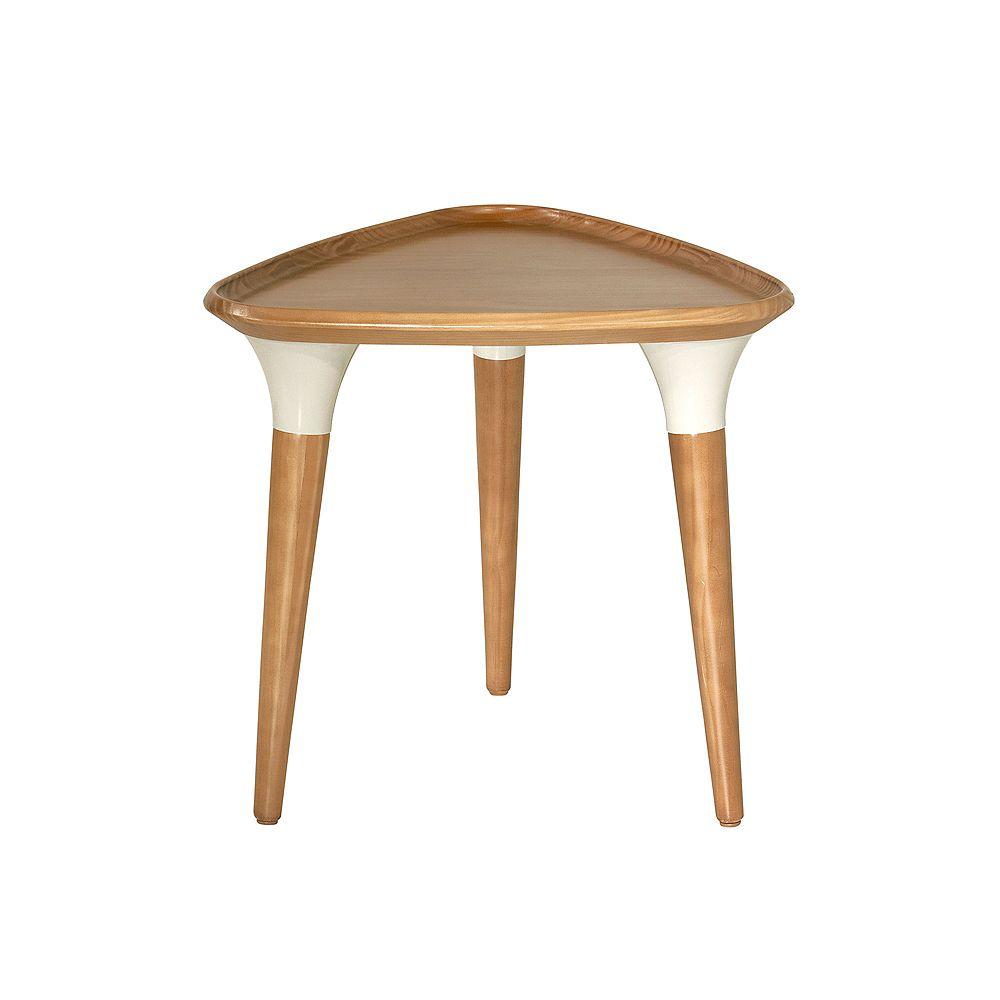 Manhattan Comfort Table d'appoint HomeDock en cannelle et blanc cassé
