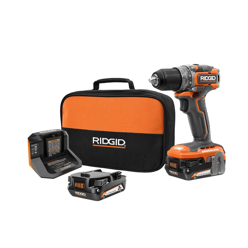 RIDGID 18V Brushless Cordless Sub-Compact 1/2-inch Drill/Driver Kit with (2) 2.0 Ah Batteries and Charger
