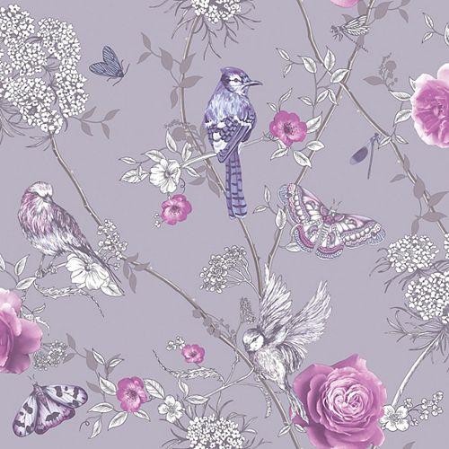 Paradise Garden Lilac Wallpaper
