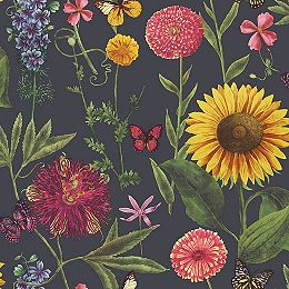 Summer Garden Charcoal Multi Wallpaper