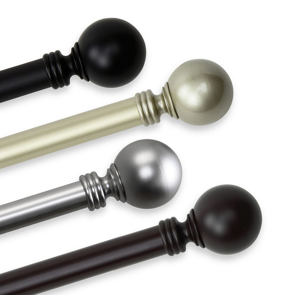 """Rod Desyne 1 in Dia Adjustable 28"""" to 48"""" Single Curtain Rod with Globe Finials in Black"""