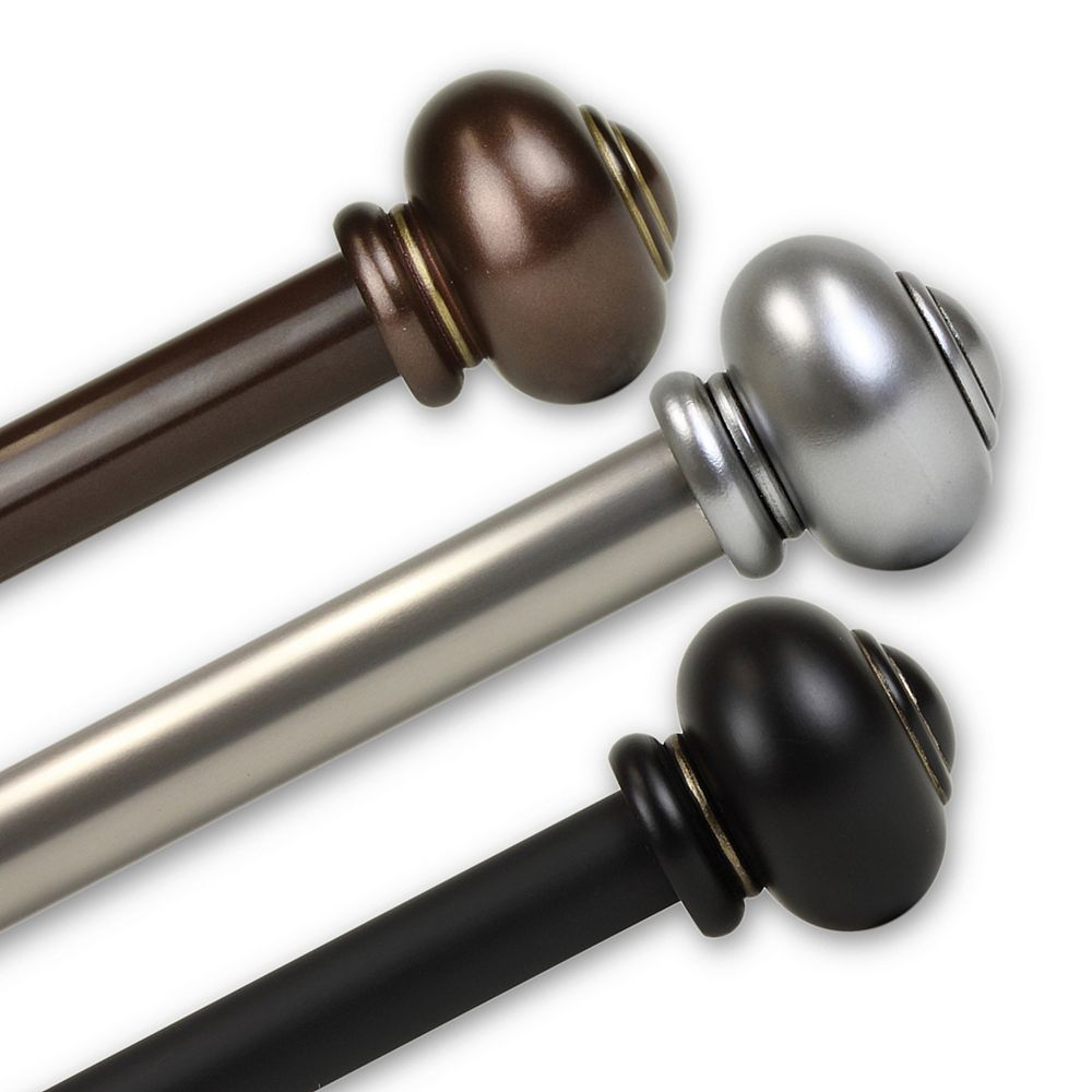 "Rod Desyne 1 in Dia Adjustable 120"" to 170"" Single Curtain Rod with Rotunda Finials in Satin Nickel"