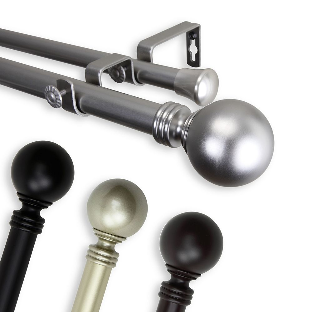 """Rod Desyne 1 in Dia Adjustable 28"""" to 48"""" Double Curtain Rod with Globe Finials in Satin Nickel"""