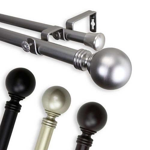 """1 in Dia Adjustable 120"""" to 170"""" Double Curtain Rod with Globe Finials in Satin Nickel"""