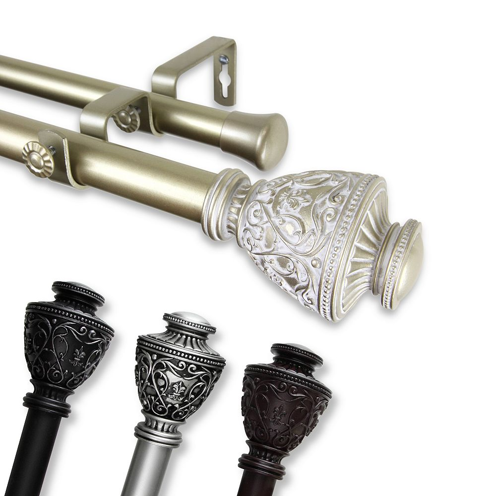 """Rod Desyne 1 in Dia Adjustable 48"""" to 84"""" Double Curtain Rod with Veda Finials in Satin Nickel"""