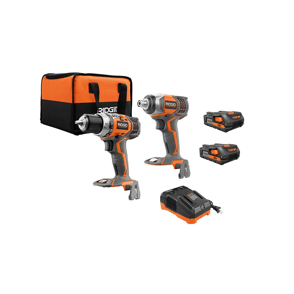 RIDGID 18V Lithium-Ion Cordless Drill/Driver and Impact Driver 2-Tool Combo Kit with (2) 2.0 Ah Batteries, Charger, and Bag