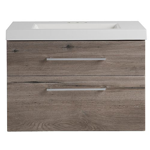 Larissa 30-inch W Wall Hung Bath Vanity in White Washed Oak with Cultured Marble Vanity Top in White