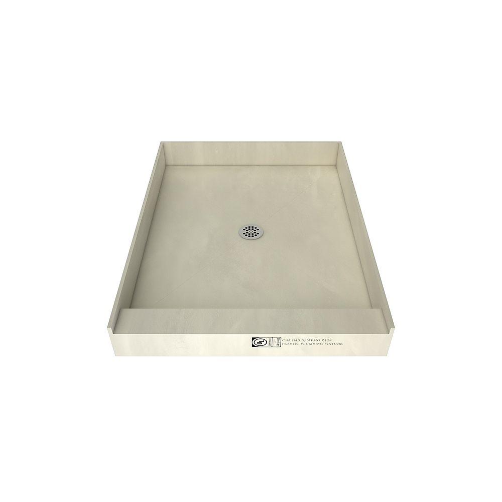 Tile Redi Base de douche à seuil simple avec drain central, 48 po x 37 po