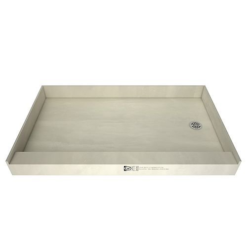 Tile Redi 30 in. x 60 in. Single Threshold Shower Base in Grey with Right Drain