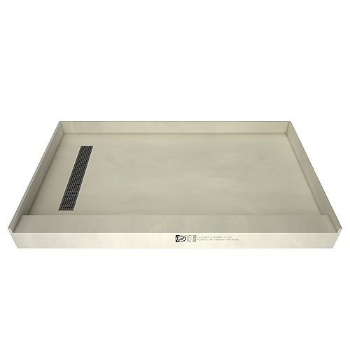 30 in. x 60 in. Single Threshold Shower Base in Grey with Left Drain and Brushed Nickel Trench Grate