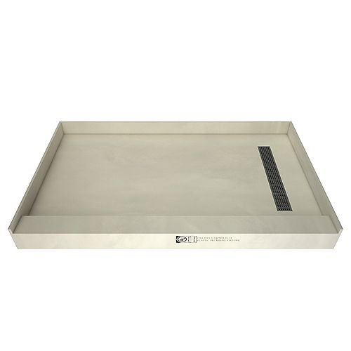 Tile Redi 30in. x 60in. Single Threshold Shower Base in Grey with Right Drain and Brushed Nickel Trench Grate