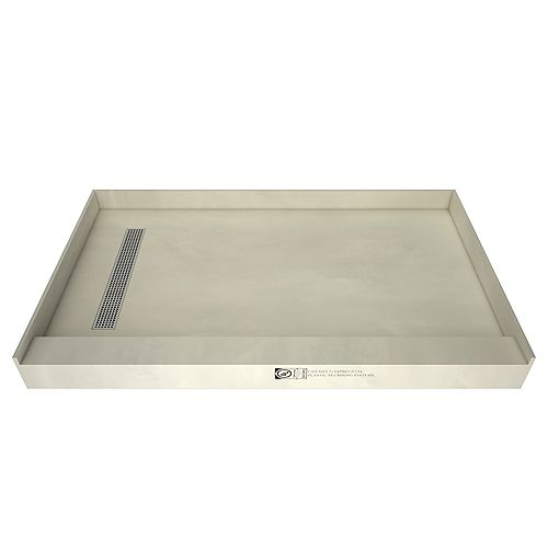 36in. x 60in. Single Threshold Shower Base in Grey with Left Drain and Polished Chrome Trench Grate
