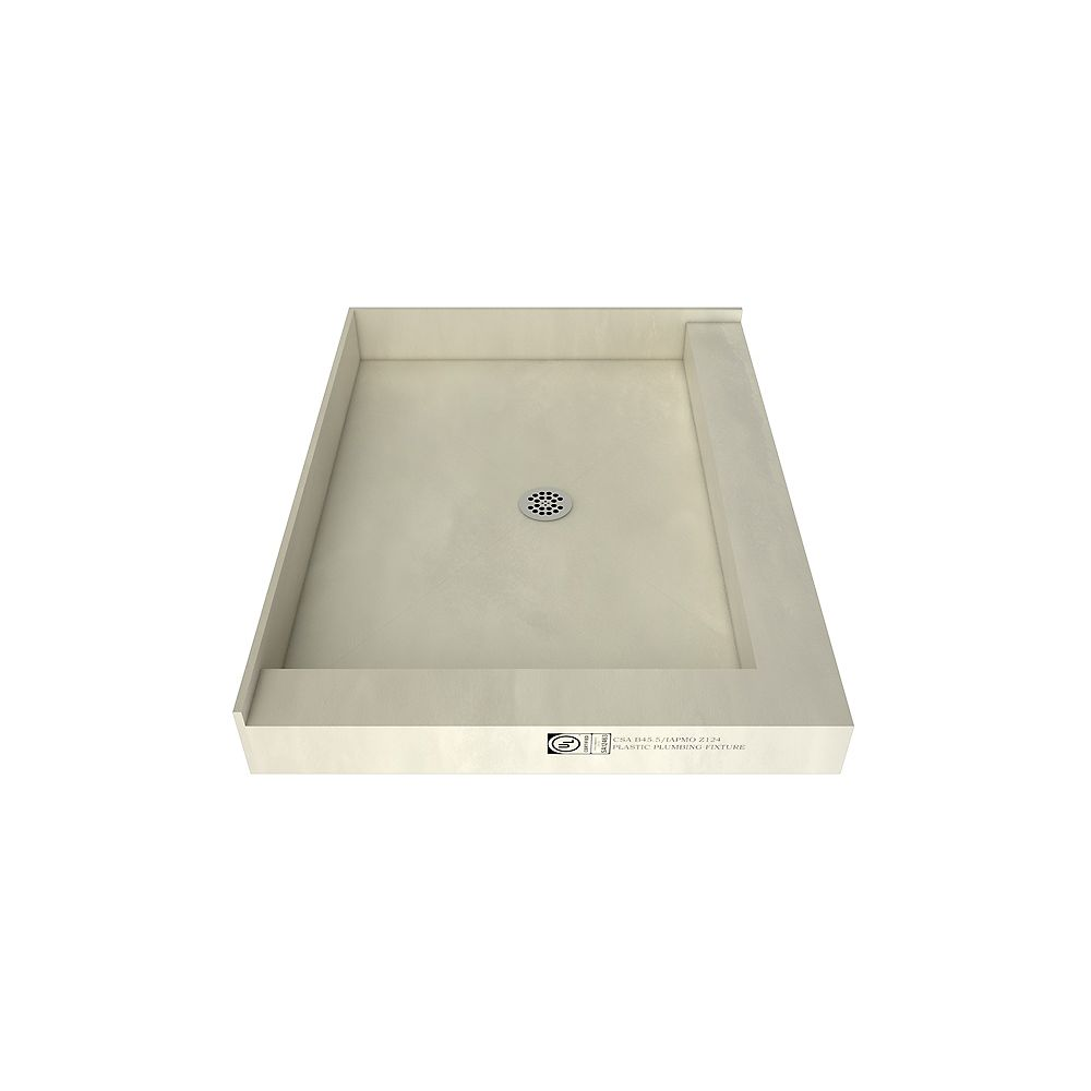 Tile Redi 48 in. x 37 in. Double Threshold Shower Base with Center Drain