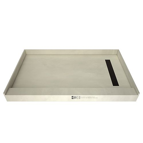 Tile Redi 30 in. x 60 in. Single Threshold Shower Base in Gray with Right Drain and Oil Rubbed Bronze Trench