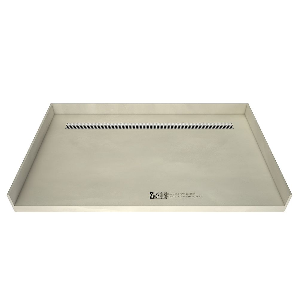 Tile Redi 30 in. x 60 in. Barrier Free Shower Base with Back Drain and Polished Chrome Trench Grate
