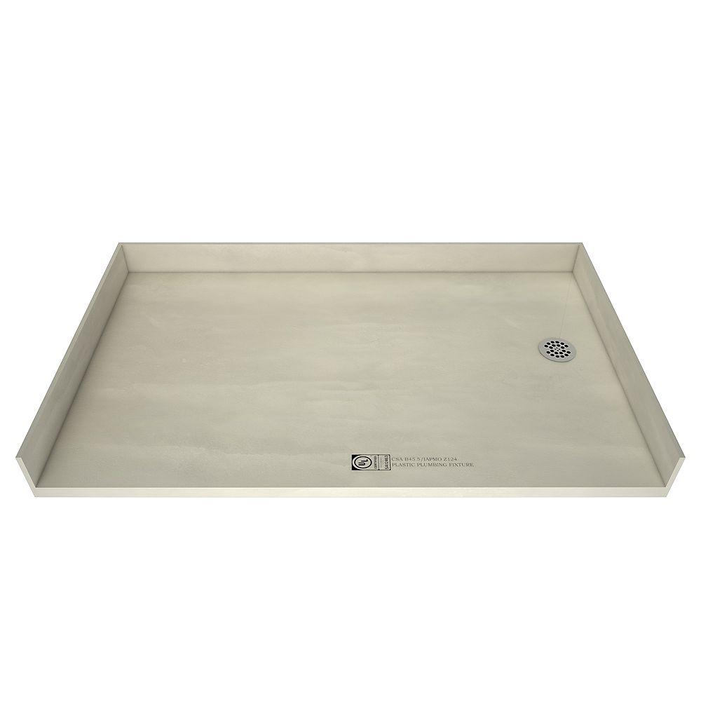 Tile Redi Base de douche avec accès de plain-pied et drain à droite, 37 po x 60 po
