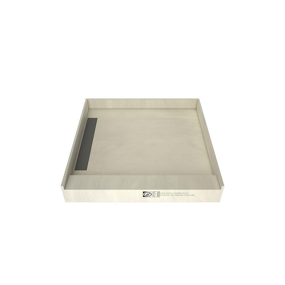 Tile Redi Base de douche à seuil simple avec drain à gauche et grille de tranchée carrelable, 48 po x 48 po