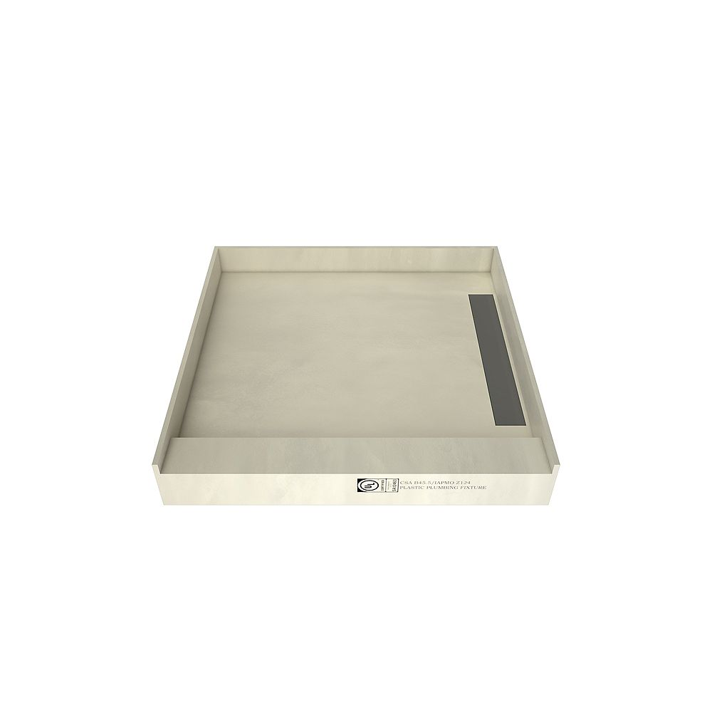 Tile Redi 48 in. x 48 in. Single Threshold Shower Base with Right Drain and Tileable Trench Grate