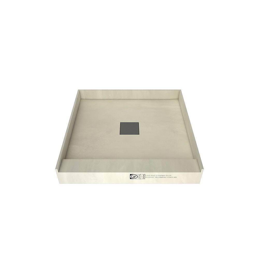 Tile Redi Base de douche à seuil simple avec drain central, 48 po x 48 po