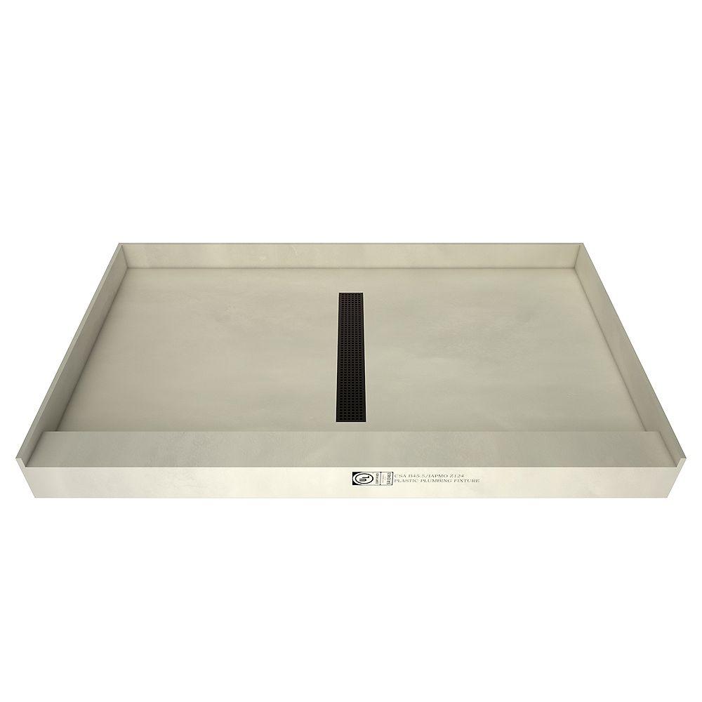 Tile Redi Base de douche à seuil simple, drain central, grille de tranchée bronze huilé, 36 po x 60 po