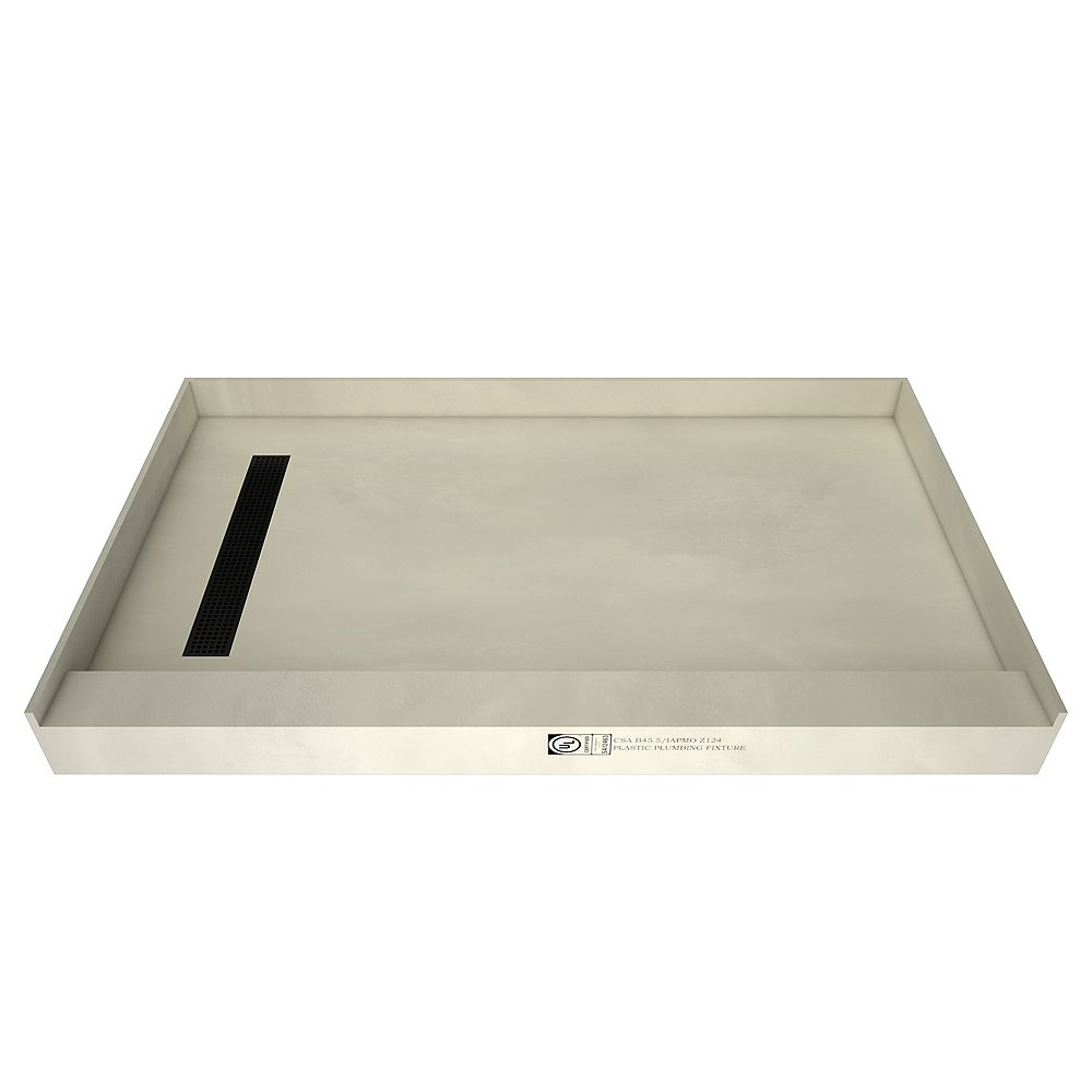 Tile Redi 48 in. x 60 in. Single Threshold Shower Base with Left Drain in Yellow and Matte Black Trench Grate