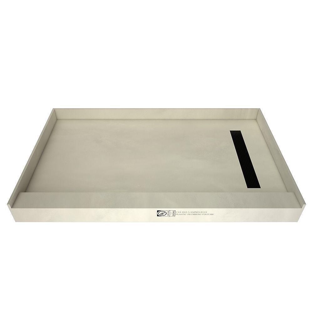 Tile Redi Base de douche à s. simple, drain à droite, grille de tranchée au fini noir mat, 32 po x 60 po