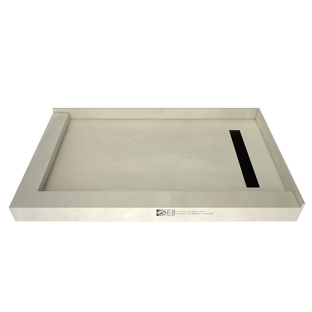 Tile Redi 36 in. x 60 in. Double Threshold Shower Base with Right Drain and Matte Black Trench Grate