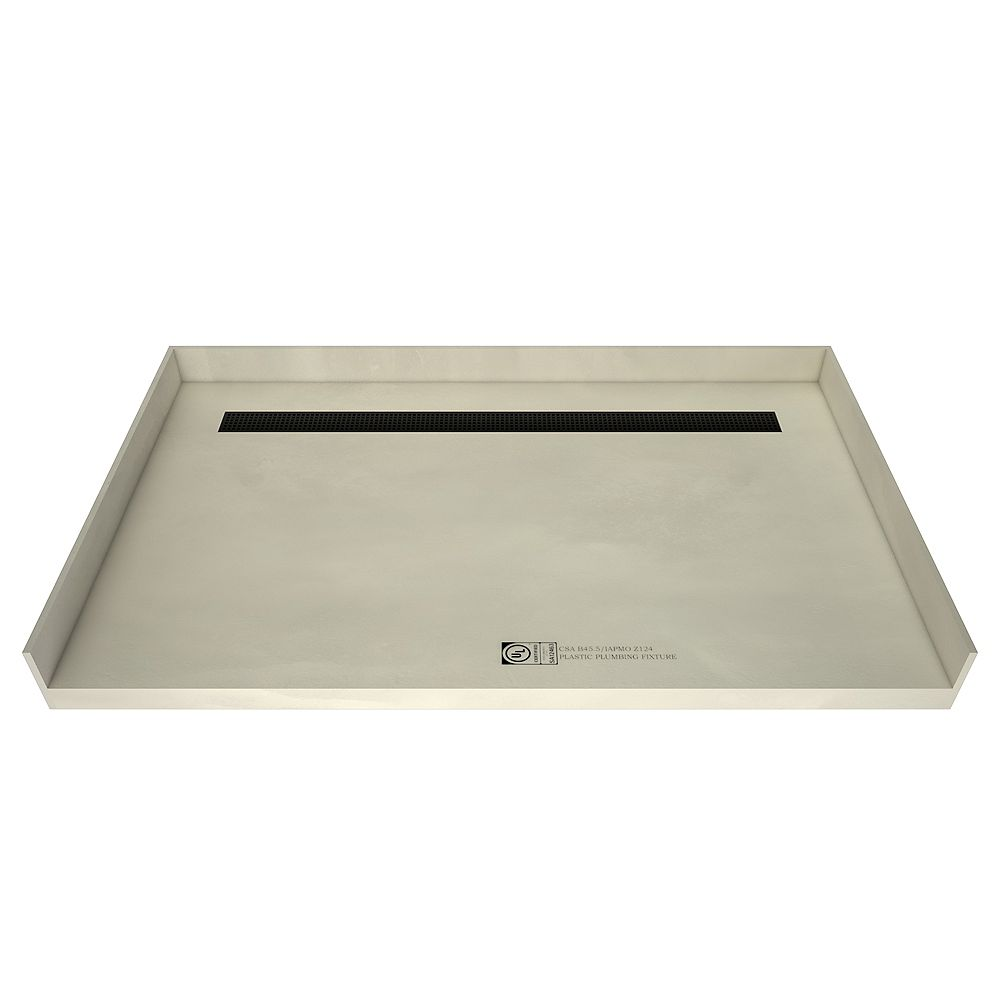 Tile Redi Base de douche, plain-pied, drain au fond, grille de tranchée au fini noir mat, 42 po x 60 po