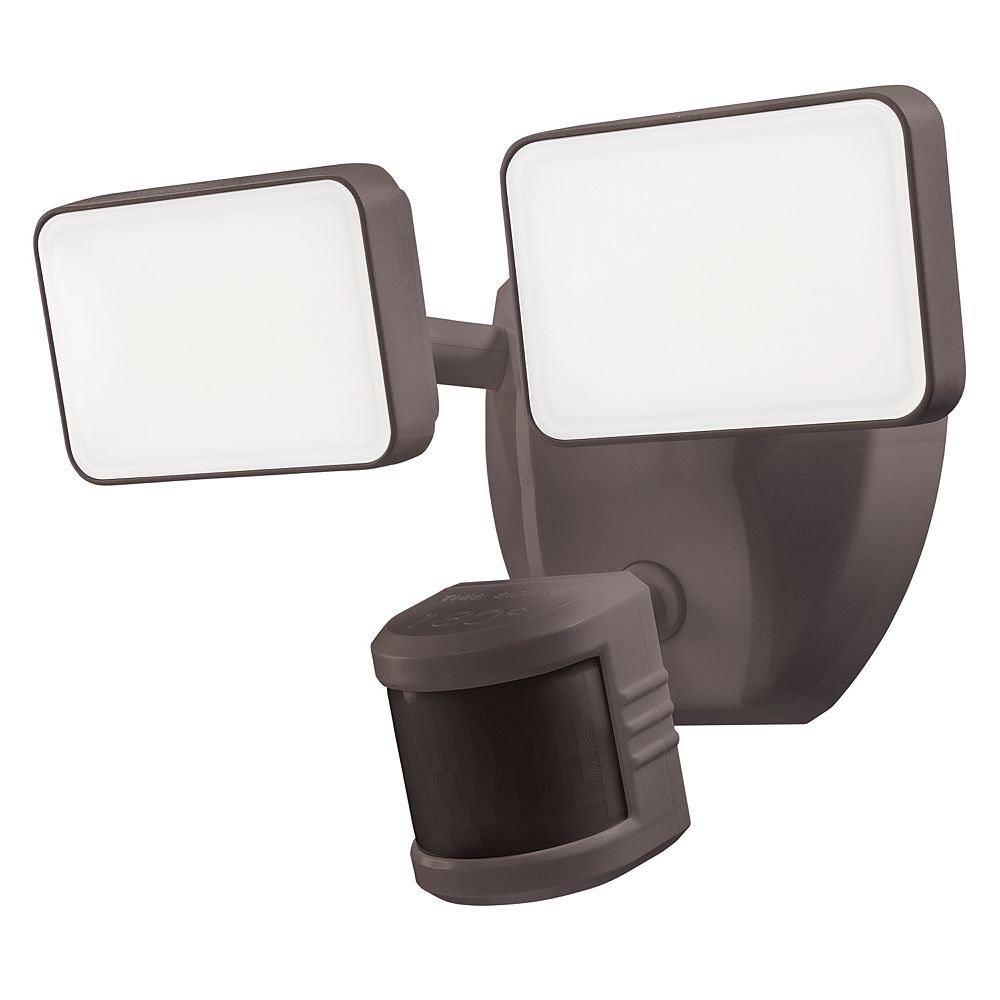 Heath Zenith Wi-Fi Connected Wired Single Head Voice Activated LED Security Bronze Flood Light 2000 Lumens