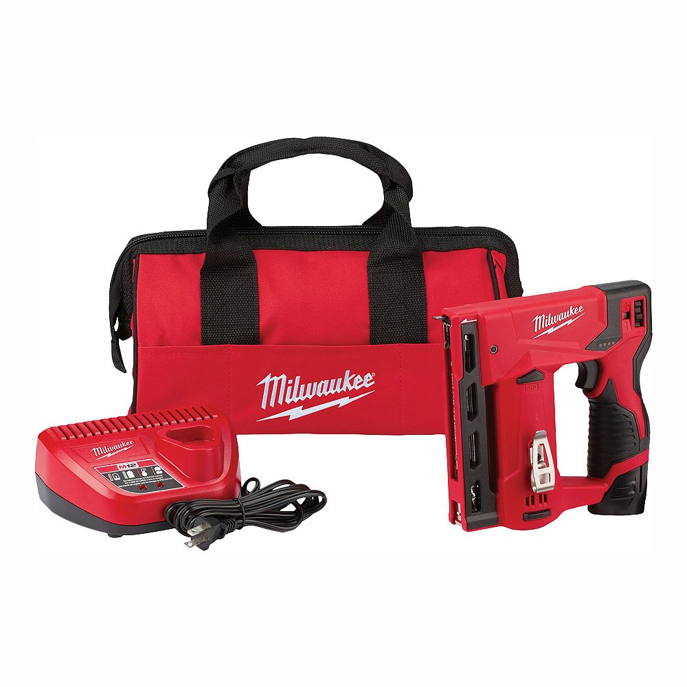 Milwaukee Tool M12 12V Lithium-Ion Cordless 3/8 -inch Crown Stapler Kit W/ (1) 1.5Ah Battery, Charger & Bag