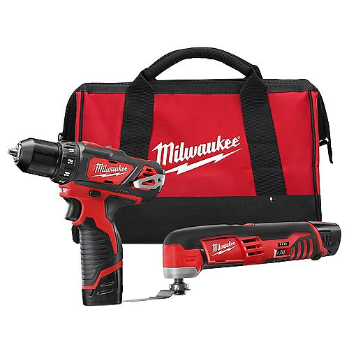 Milwaukee Tool M12 12V Li-Ion Cordless Drill Driver/Multi-Tool Combo Kit with (2) 1.5 Ah Battery and Tool Bag