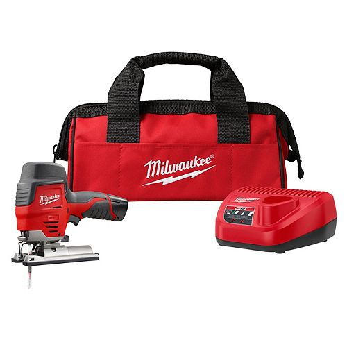 Milwaukee Tool M12 12V Lithium-Ion Cordless Jig Saw Kit with One 1.5 Ah Battery, Charger, Tool Bag